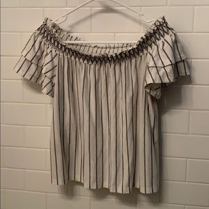 American Eagle Off the Shoulder Striped Top